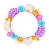 Colorful round frame with seashells isolated on white background. vector illustration. - 201751926
