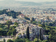 Athens, Greece, 03.03.2018: View of Athens city with Lycabettus hill in the background. view of Athens city with Plaka neighborhood
