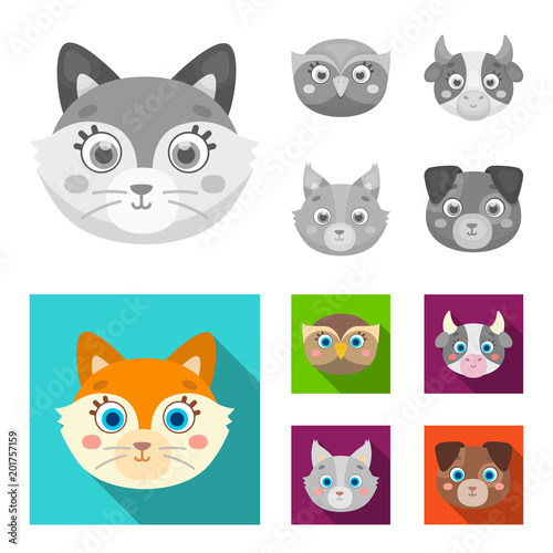 Owl, cow, wolf, dog. Animal muzzle set collection icons in monochrome,flat style vector symbol stock illustration web.