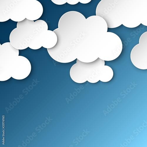 Papier chmury na niebieskim niebie. Сartoon papierowej chmury ilustraci tło. Koncepcja biznesowa air Cloudscape.