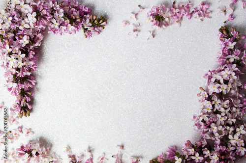 Lilac flowers arrangement with copy space