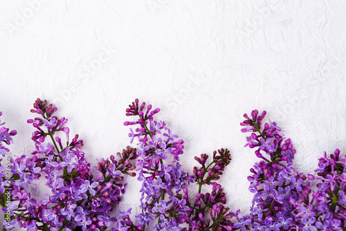 Lilac flowers arrangement on white fabric