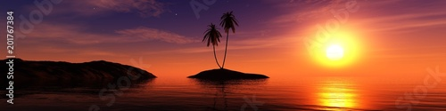 Aluminium Oranje eclat panorama of the sea sunset, the sun over a tropical island with palm trees, 3D rendering
