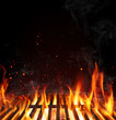 Quadro Grill Background - Empty Fired Barbecue On Black