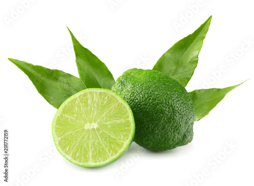 Foto Murales healthy food. lime with green leaf isolated on white background