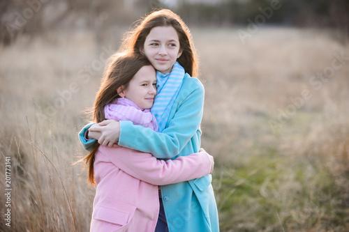 Happy girls at dawn outdoor