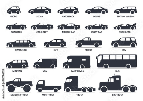 Car type icons set. Model automobile. Vector black illustration