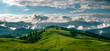 Breathtaking panorama of morning wild nature high in mountains
