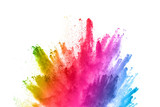 abstract powder splatted background. Colorful powder explosion on white background. Colored cloud. Colorful dust explode. Paint Holi. - 201782930
