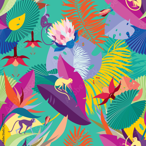 Seamless Hawaiian pattern. Pattern with tropical plants and monkeys. Background for textile, manufacturing, book covers, wallpapers, print or gift wrap. - 201783129