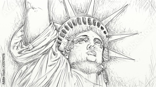 the statue of liberty, hand-drawn in china