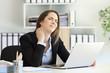 Office worker suffering neck ache
