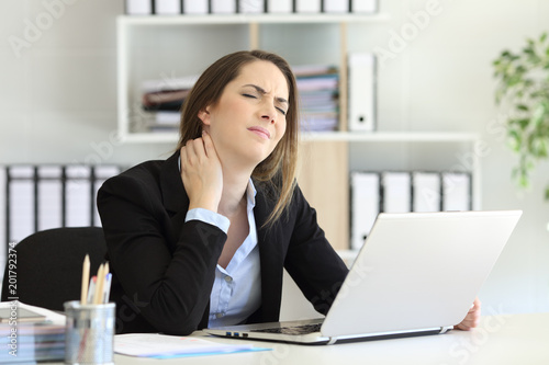 Office worker suffering neck ache