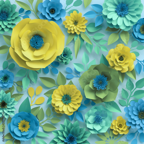 3d render, paper flowers, botanical background, floral wallpaper, turquoise pattern, garden, mint blue yellow, spring summer nature, rose, daisy, dahlia