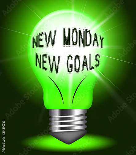 Monday Work Quotes - New Goals - 3d Illustration
