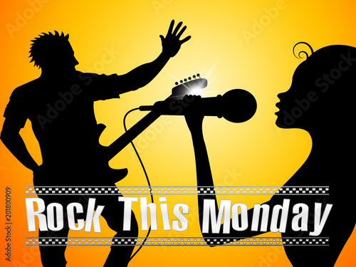Monday Motivation Quotes - Rock The Day - 3d Illustration