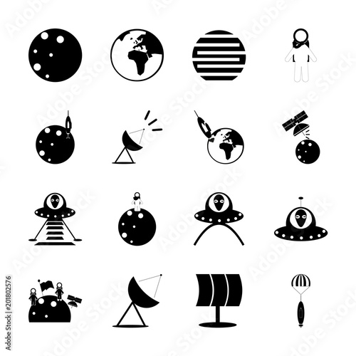 icon Cosmos with planet, alien plane, cosmonaut, astronaut and galaxy