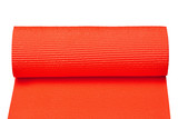 Red yoga mat isolated on white background with clipping path.