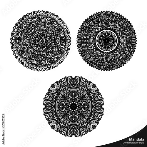 Mandala Art Oriental  Texture Beautiful Natural Pattern Decorative Graphic Vector Element Contemporary Floral Ornament Coloring Book Relaxation - 201807323
