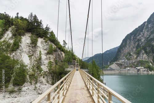 Suspension bridge in Tateyama Kurobe Alpine Route in Japan