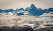 An aerial view of the Rocky Mountains of Canada and Mount Assiniboine in winter