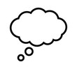 Thought bubble thinking cloud line art vector icon for apps and websites
