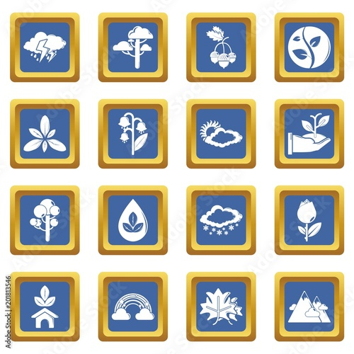 Nature icons set vector blue square isolated on white background