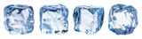 Set of four different ice cube faces. Clipping path.