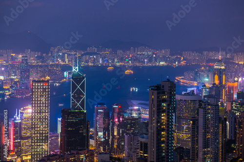 View cityscape at night of Victoria Harbour from The Peak, Hong Kong - 201816163