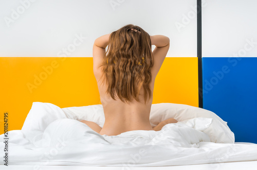 Back view of a beautiful sexy woman in bed - 201824795