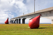 Red buoys and the Confederation Bridge