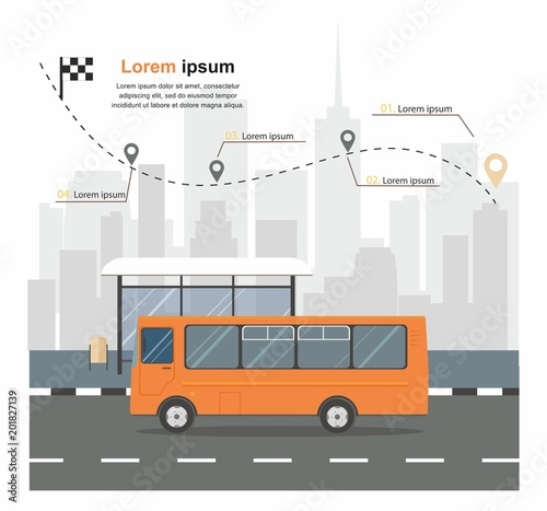 Fototapeta Bus at the bus stop on background of city Transporation infographic