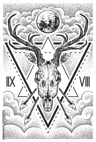 Canvas Hipster Hert Deer Skull Sacred Geometry