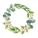 Watercolor vector wreath with green eucalyptus leaves, Jasmine flowers and branches. - 201832590
