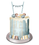 Happy birthday cake Vector realistic. White chocolate frosting and macaroons. Anniversary, wedding, ceremony modern desserts - 201835584