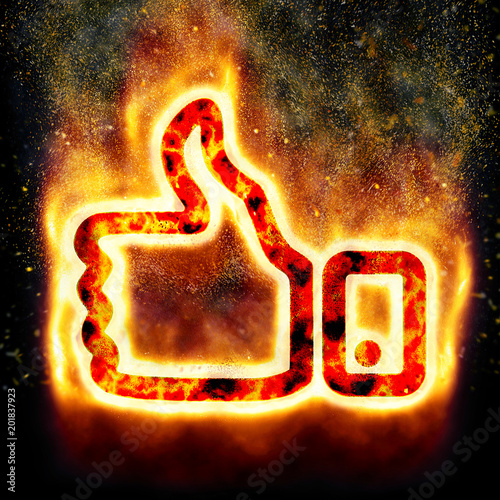 Thumb up sign with burning elements