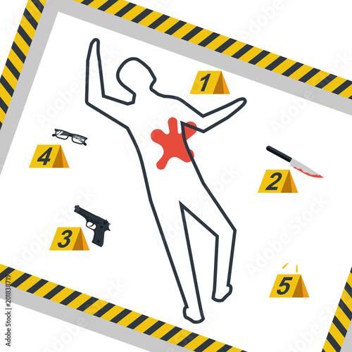 Crime scene  Danger tapes  Vector illustration flat design  Isolated