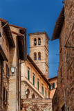 View of the medieval bell tower of Cortona Cathedral, an old town in Tuscany