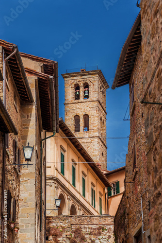Fotobehang Toscane View of the medieval bell tower of Cortona Cathedral, an old town in Tuscany