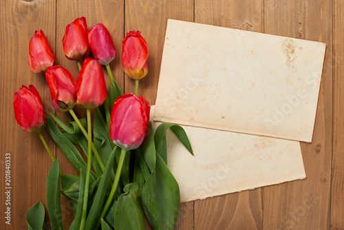 Fototapeta tulips are on wooden boards, old blank paper sheet with place for text - holiday and greeting concept