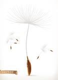 Dandelion seeds, 3d vector icon