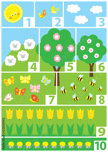 educational numbers poster for preschool / vector illustration for children, numbers 1-10