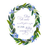 Template for congratulations or invitations to the wedding in blue colors. Illustration by markers, beautiful wreath of lilac and twigs with leaves. Imitation of watercolor drawing. - 201841541