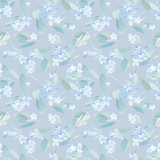 Seamless pattern, blooming blue lilac and green foliage. Illustration by markers, beautiful floral composition on a gray background. - 201841937