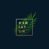 Fern or Palm Leaf In a Golden frame with Modern Typography. Abstract Vector Sign, Symbol or Logo Template. Elegant Emblem or Card Design. On Dark Blue Background