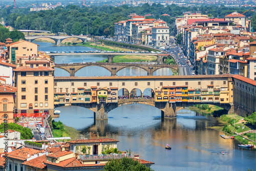 Wall mural Aerial view of Florence with the Ponte Vecchio and the Arno river, Tuscany, Italy