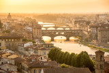 Aerial view of Florence at sunset  with the Ponte Vecchio and the Arno river, Tuscany, Italy - 201845105