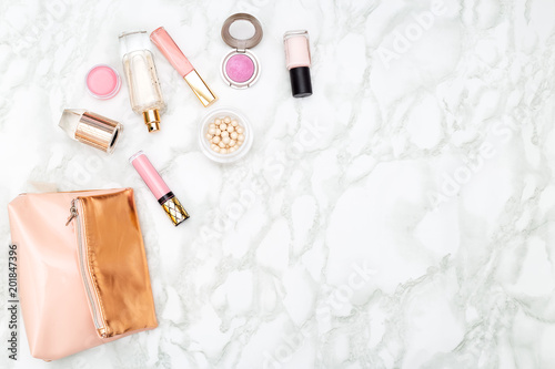 Foto Murales Make up and perfume on marble background. Copy space