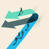 A Change of Direction. A businessman choosing to walk in the opposite direction to other people on top of a arrow. Business conceptual vector illustration. - 201849718