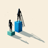 A man and women seperated by height. Gender issues in business including equal rights and pay gaps. Conceptual vector illustration.